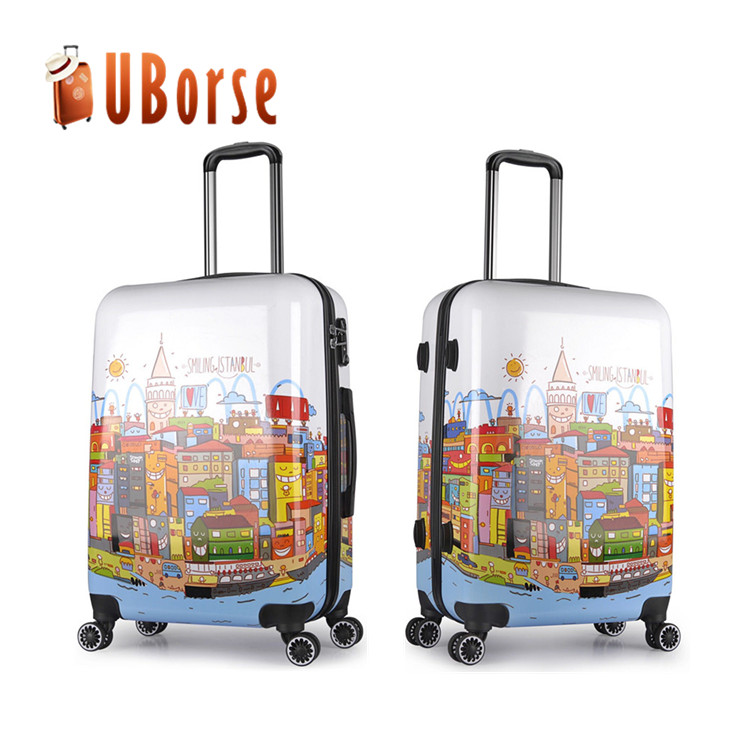 Unique pattern 20 inch printed laggage bag travel abs pc trolley luggage