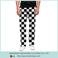 Wholesale high quality Sublimation Black & White Checkered Printed mens golf pants