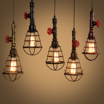 Unique Iron Waterpipe Hanging Vintage Pendant Light Edison Lights For Bar Warehouse Cafe