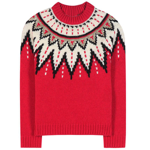 Womens red knit wool crewneck holiday sweaters christmas sweaters