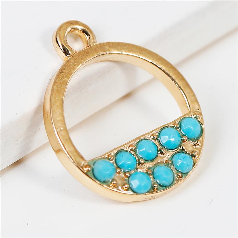 Zinc Based Alloy Charms Geometric Gold Plated Round Green Blue Rhinestone Fashion Metal Heart Shape Charm Pendants