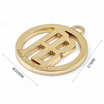 Factory Direct Custom Round Hang Metal Tag with Loop, Fashion Design Gold Metal Logo Tags for Handbag*