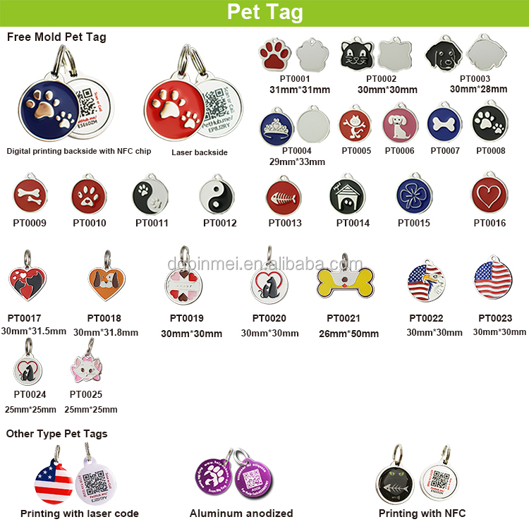 Personalized QR Code Pet Tag Custom Paw Shape Dog Tags With QR Code/ Unique ID Pet Tags