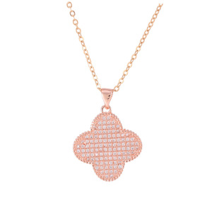 XL0260 JN gold plated micro pave CZ simple necklace designs bold flower charm necklace jewelry