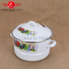 high quality white decal enamel food cooking steamer with hollow handle