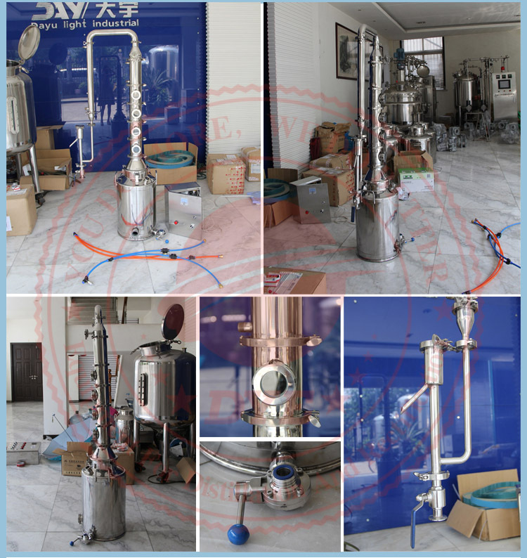DYE 50-200L Hot Sale SS304 Micro Alcohol Moonshine Distillery Equipment Manufacturers