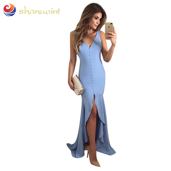 2019 Chinese shanuoint brand women dress OEM sexy slim full-body paper backed satin party dresses for women