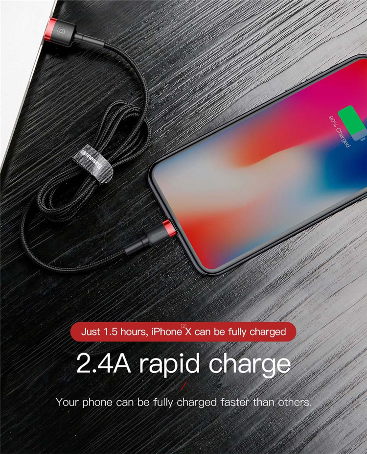 Baseus 2.4A Fast Usb Data Charging Cable for Iphone X 8 7 6 6s