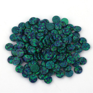 High quality cabochon opal dark green lab created loose gemstone