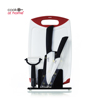 Private Label Cooking 5 Piece Ceramic Blade Knife Set With Acrylic Stand And Cutting Board