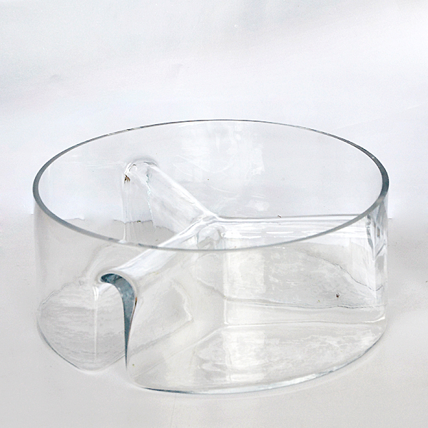 Clear serving glass, 3 section salad serving glass