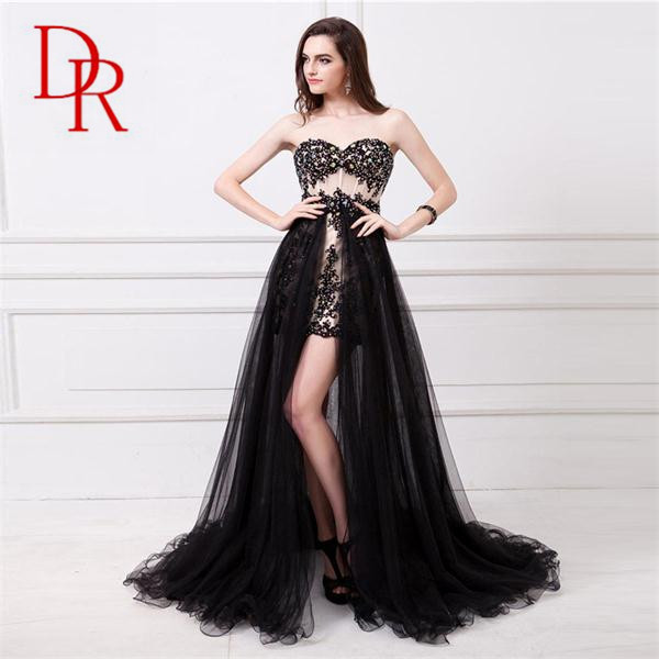 Prom Frocks Black Detachable Long Tail Two Style Short Patterns Strapless Bare Back Bodycon Net Dresses Front