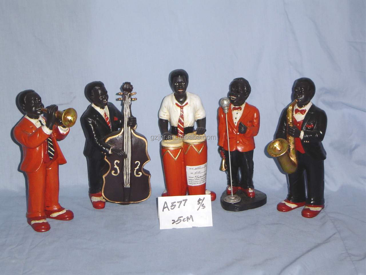 Resin Black People African Band Figurine For Home Decor