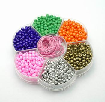 Wholesale Diy Kids Craft Beads Jewelry Set Plastic Box Seed Beads