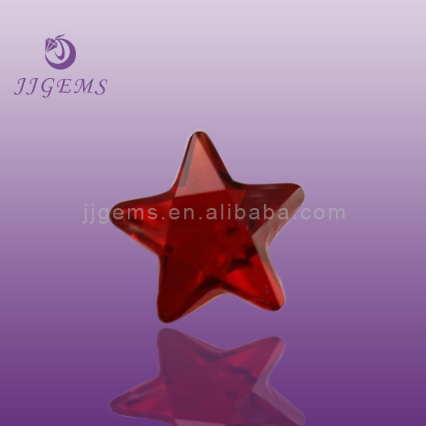 Star rough ruby gemstone/red star shaped glass stones