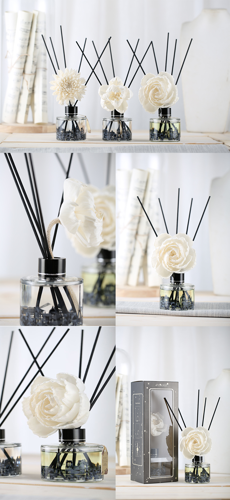 Gift Design Eyun Fragranc Reed Diffuser Set Packaging with Natural Sticks
