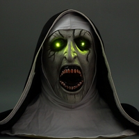 Halloween The Nun Mask Horror Latex Mask With Scary Voice With Led light