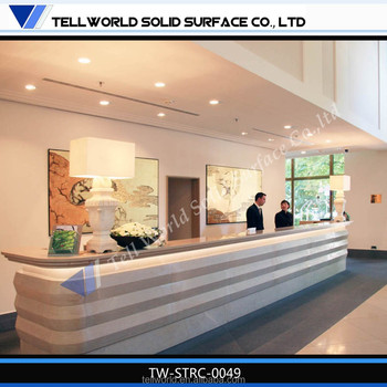 hotel reception table design decorations solid surface front desk skirting - Glass Front Hotel Decoration