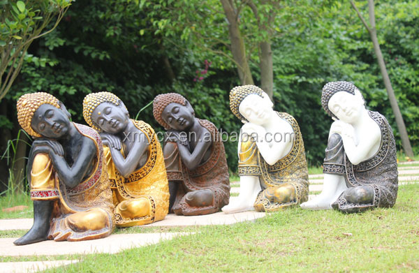 Antique Bronze Statues Garden Resting Buddha Sculpture