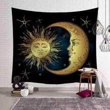 Золотой узор Солнце Луна гобелен в индийском стиле плед с рисунком мандалы в стиле бохо, декоративный хиппи гобелены одеяло ковер винтажный...(Китай)