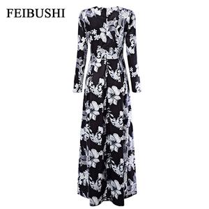 8eca66f2e5e08 FEIBUSHI Autumn Runway Maxi Dress 4XL 5XL Long Sleeve Retro Floral Print  Vintage Floor Length Party Formal Maxi Dress Plus Size
