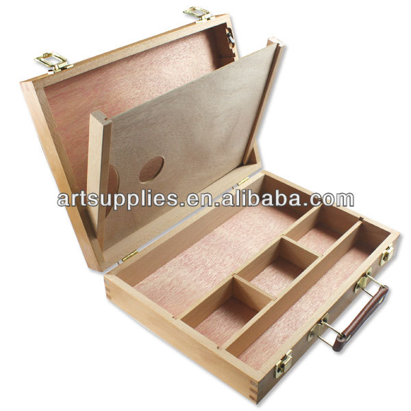 High quality Beech Portable Artist Painters Easel Box with leather handle artist sketch box easel
