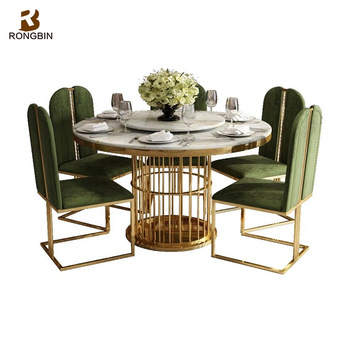 Home Furniture Modern Luxury Metal Dining Table Set 6 Seater Round Marble With Rotating
