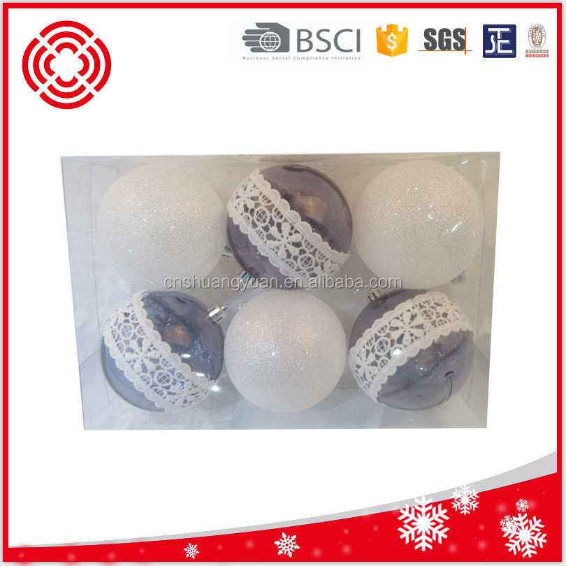 Factory Wholesale PVC box packing handmade white lace decorated plastic Christmas ball