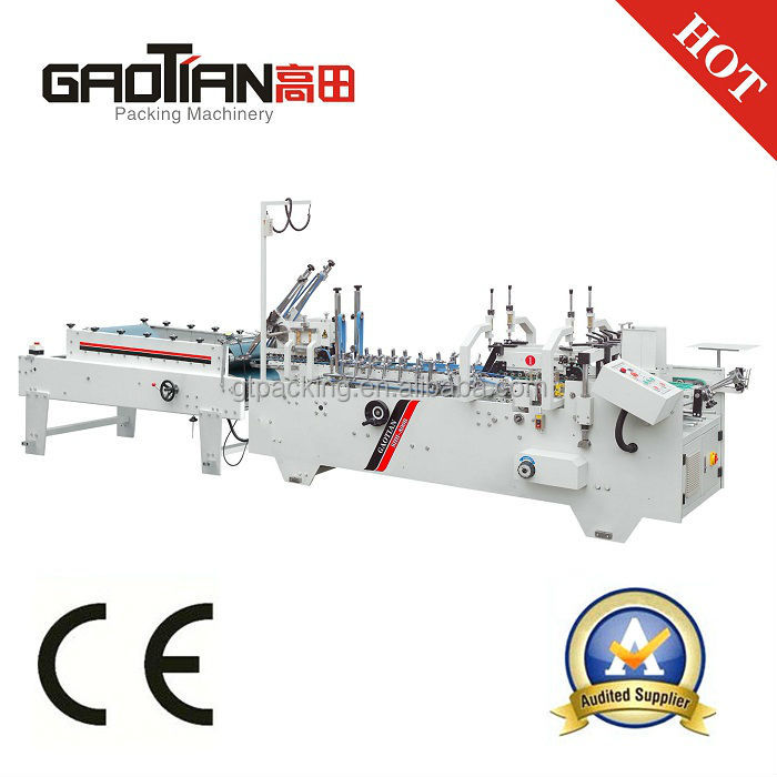 WENZHOU GAOTIAN brand SHH800B Automatic Chocolate Box Folder Gluer Machine / Automatic Coffee Sleeve Folding Machine
