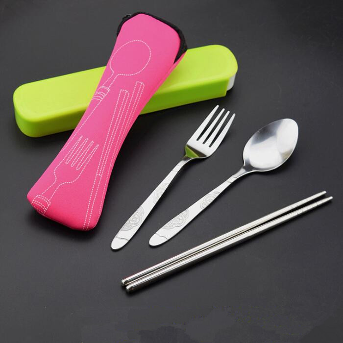stainless steel Knife Fork Spoon Set 3pcs Camping Cutlery Travel Set with Pouch Case