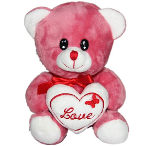 17cm sitting pink valentint bear holding heart with bow