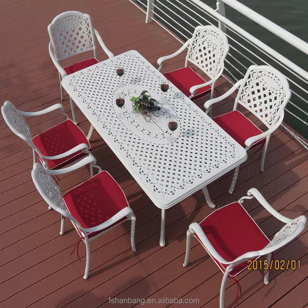Heavy Duty Dining Table And Chairs White Bronze Anodized Aluminum Outdoor Metal  Patio Furniture