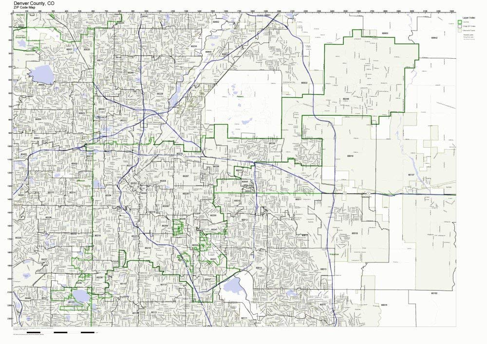 Buy Denver County Colorado Co Zip Code Map Not Laminated In Cheap