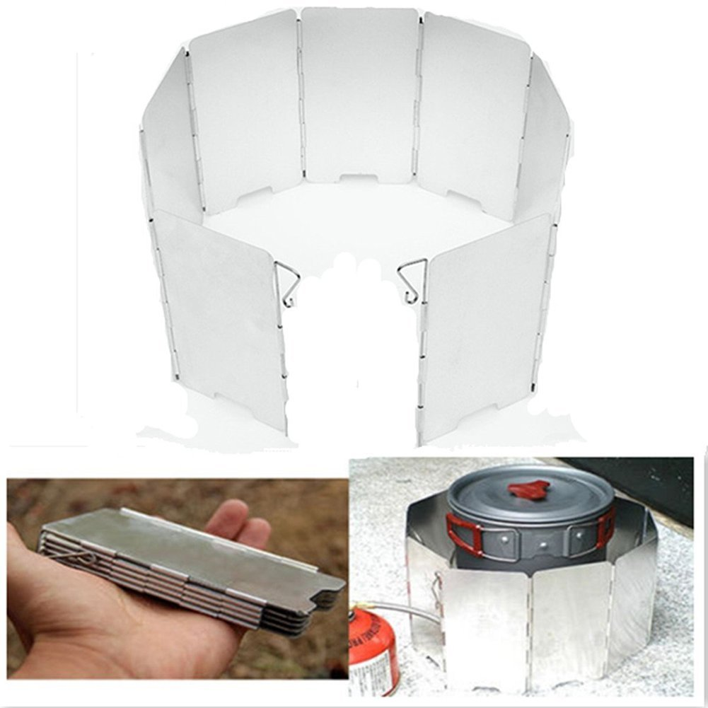 9Plates Camping Stove Windscreen Windshield Lightweight Compact Folding Cooker Stove Windbreak Outdoor Picnic Backpacking Aluminum Windproof Screen 2Set