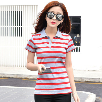 The 2017 striped short sleeved T-SHIRT SIZE SUMMER female thin cotton polo shirt coat lapel loose all-match students