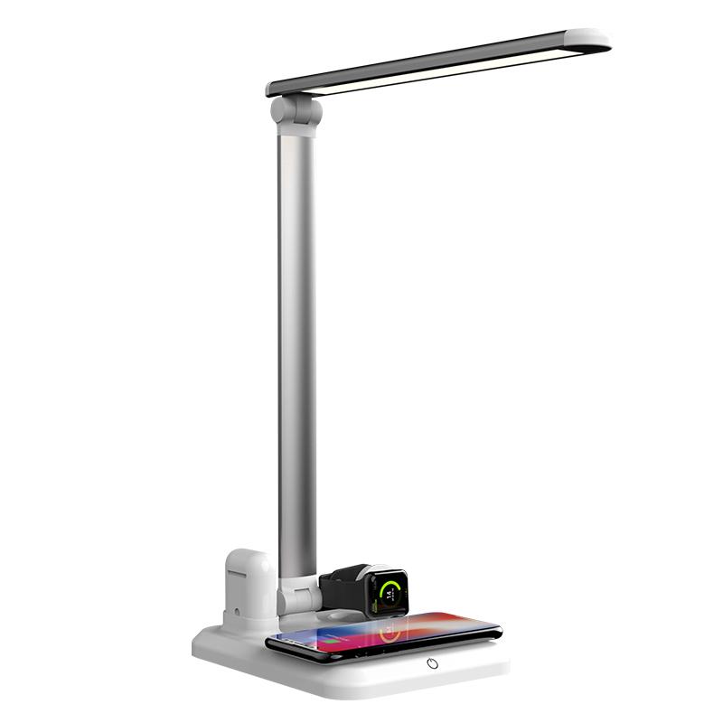 3 Color Adjust QI Wireless Charging LED Table Reading Lamp folding wireless charger desk lamp with USB Port