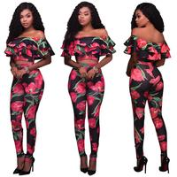 2018 Women Sexy Floral Ruffles Off Shoulder 2 Pieces Outfits Long Jumpsuits Rompers