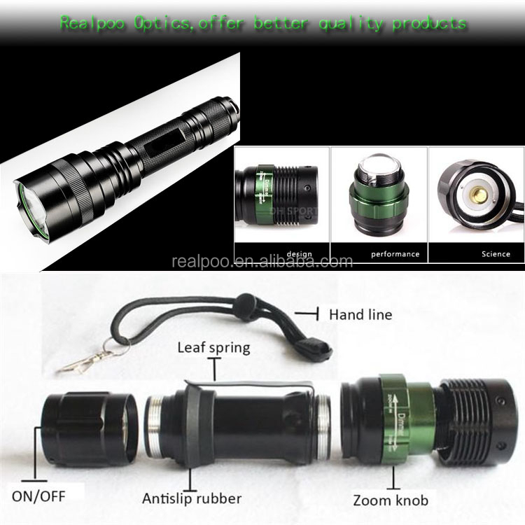 Strong lasting long shot LED mini Intelligent zoom Flashlight rechargeable waterproof flashlight