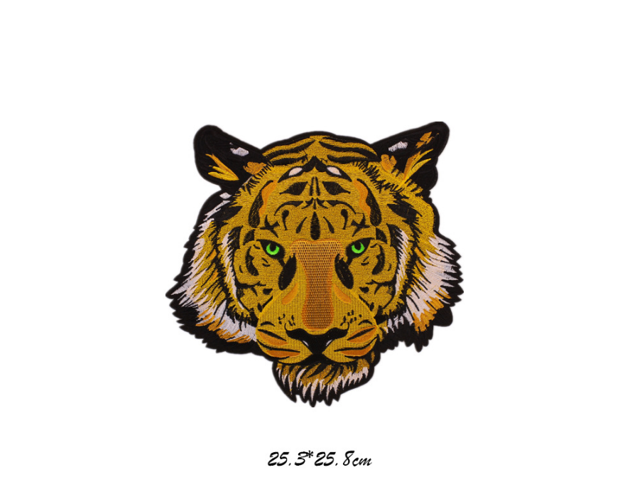 Cheap Custom Tiger Pattern Embroidery Chenille applique Patches,big size High quality custom tiger embroidery 3d patch wholesale