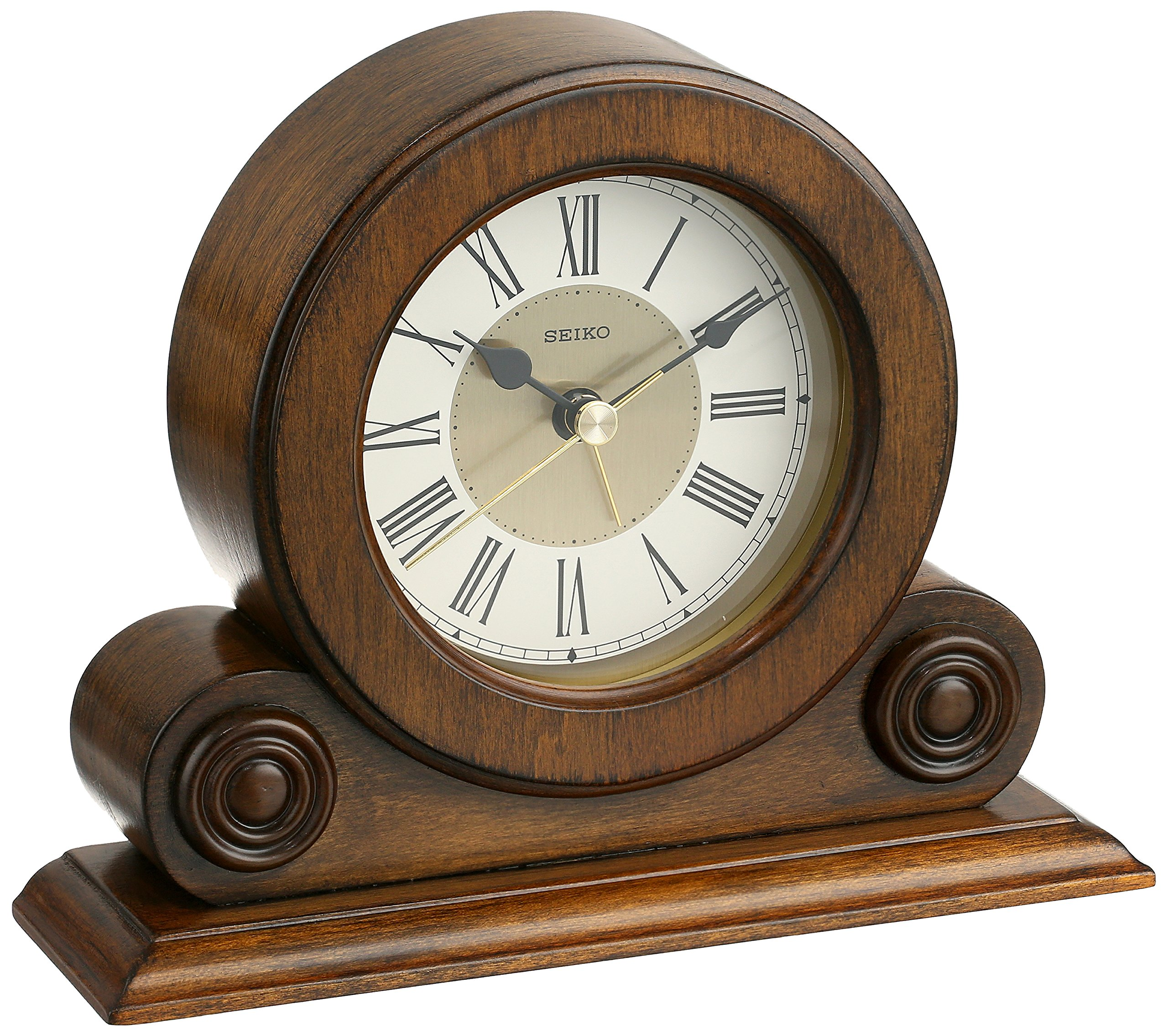 Get Quotations · Seiko Desk And Table Alarm Clock Brown Alder Case