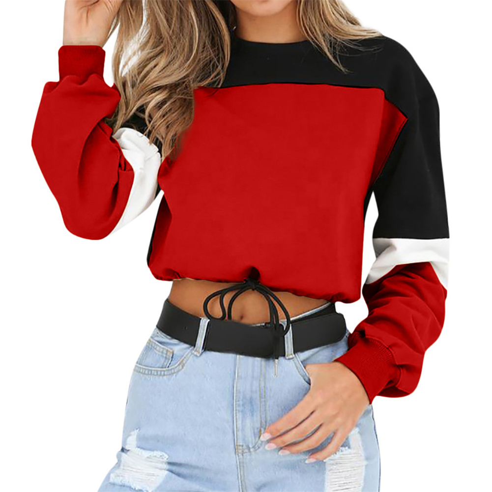 Neue Design Herbst Winter Casual Sexy O Hals Patchwork Langarm Lace Up Lose Sweatshirt Frauen Crop Top Hoodie