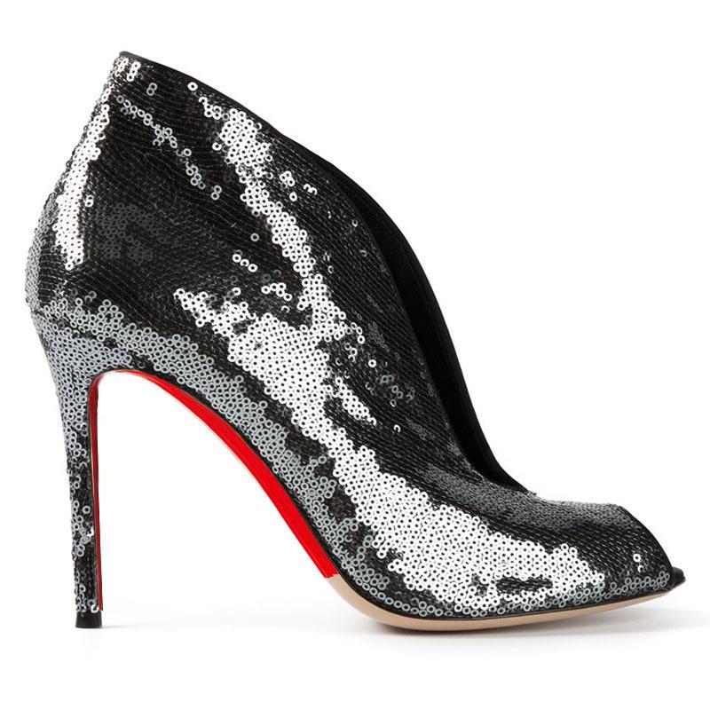 Summer Sandals Boots Women Shoes Cheap High Heels Pumps Peep Toe Stiletto Sequined ...