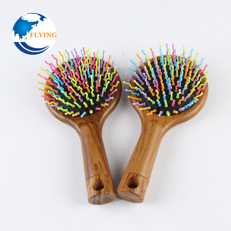 Rainbow Natural Wood Hair Brush Hair Care Spa Massage Comb Anti-static Paddle Rubber New Combs