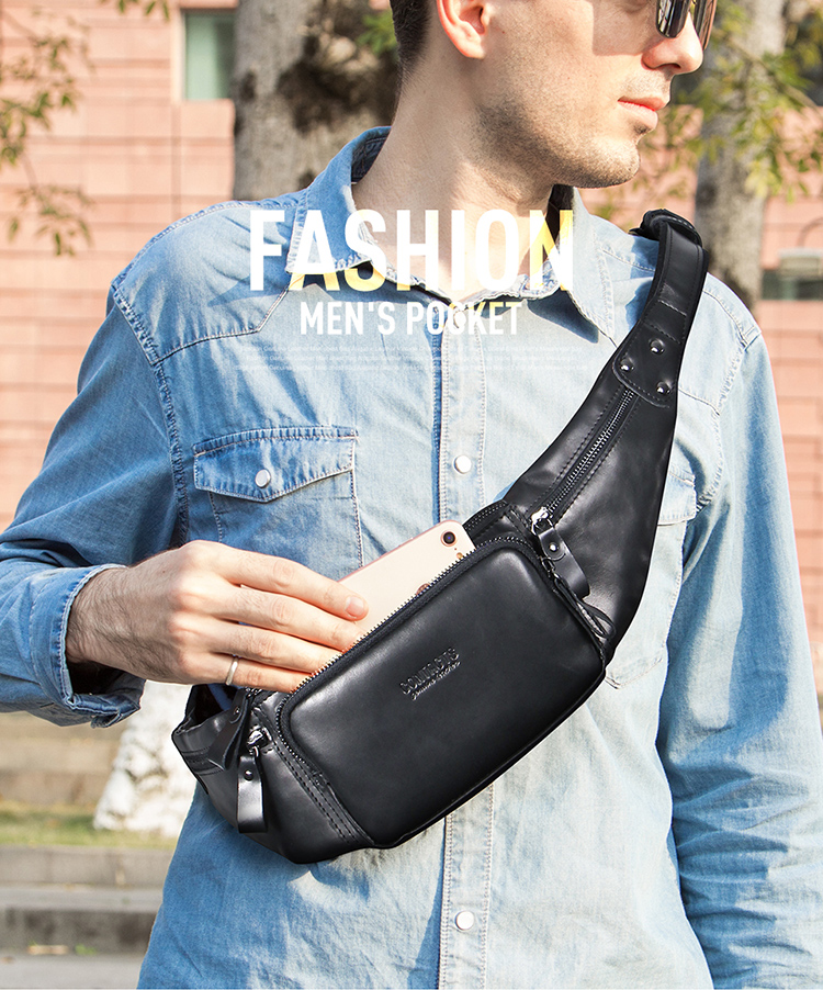 Contact's 2019 Vintage Fashion Custom Printed Belly Cross Body Messenger Genuine Cowhide Leather Men Hiking Waist Bag Fanny Pack