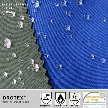 300gsm 75%Cotton 24%polyester 1%antistatic 4/1 Satin FR+AS+OWR