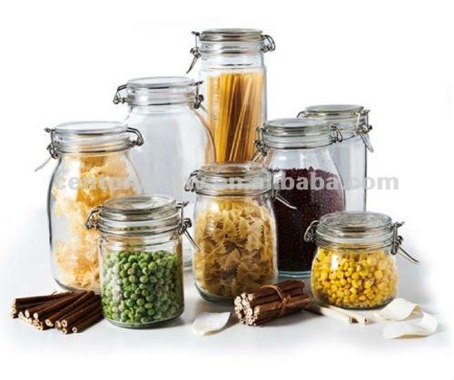 Kitchen Storage Food Safe Wholesale Clip Glass Nut Storage Jar