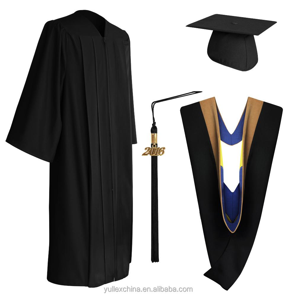 Matte Black Bachelor Graduation Cap,Gown,Tassel & Hood - Buy ...