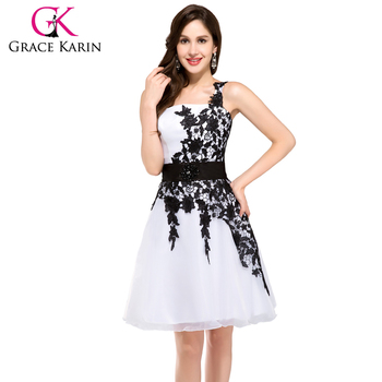 Grace Karin Formal One Shoulder Prom Gowns Short Black And White ...