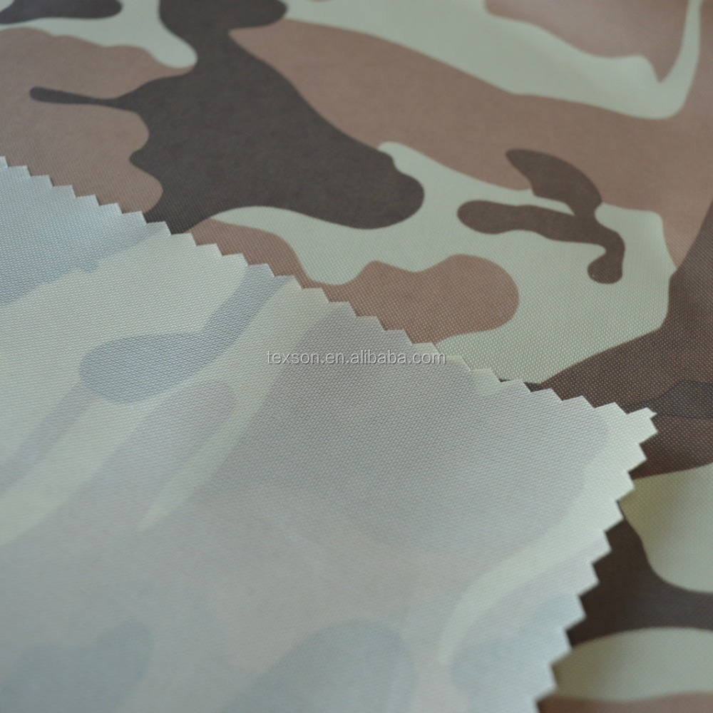 camouflage polyester oxford fabric 210D PU coating military fabric