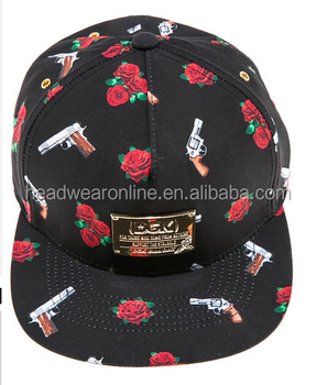Custom Flower Rose Printing Guns 5 Panel Caps Wholesale - Buy ... 5ec195ff5f6d